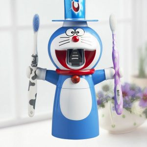 doraemon-cartoon-automatic-toothpaste-dispenser-squeezer-wall-mount-stand-bathroom-sets-toothbrush-holder-dust-proof-cup_5_